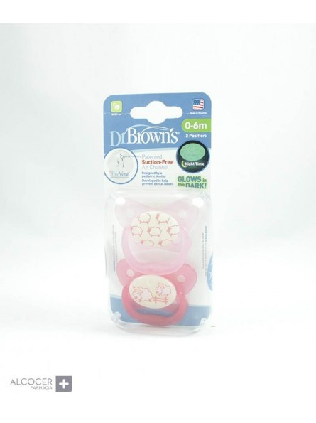 DR BROWN´S CHUPETES NOCTURNOS 0-6 M 2 UNID NP+
